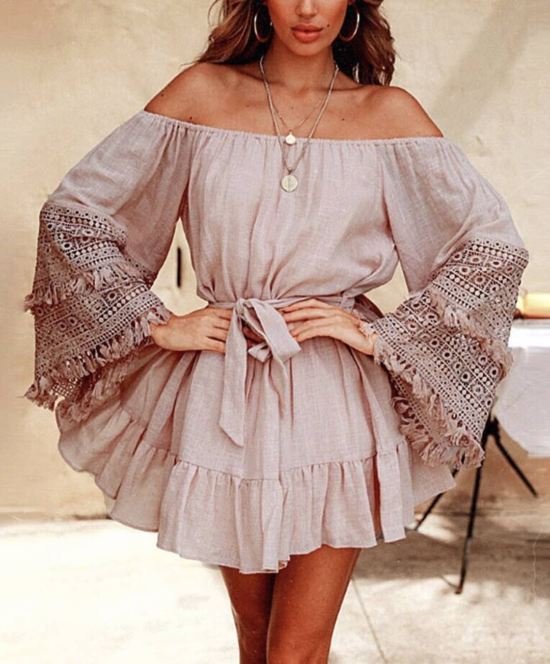 Off Shoulder Bell Sleeve Belted Dress In Cream Pink For Boho Ladies 2019