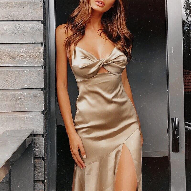 Silken Front Cut Slipdress With Side Slit For Summer 2020