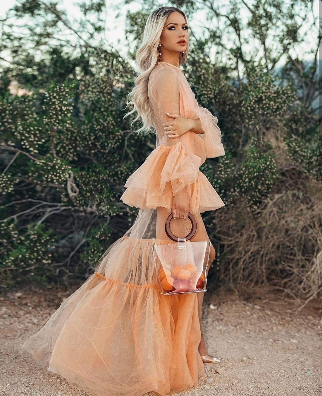 Pastel Peach Tulle Ruffle Maxi Dress For Summer Special Parties 2021