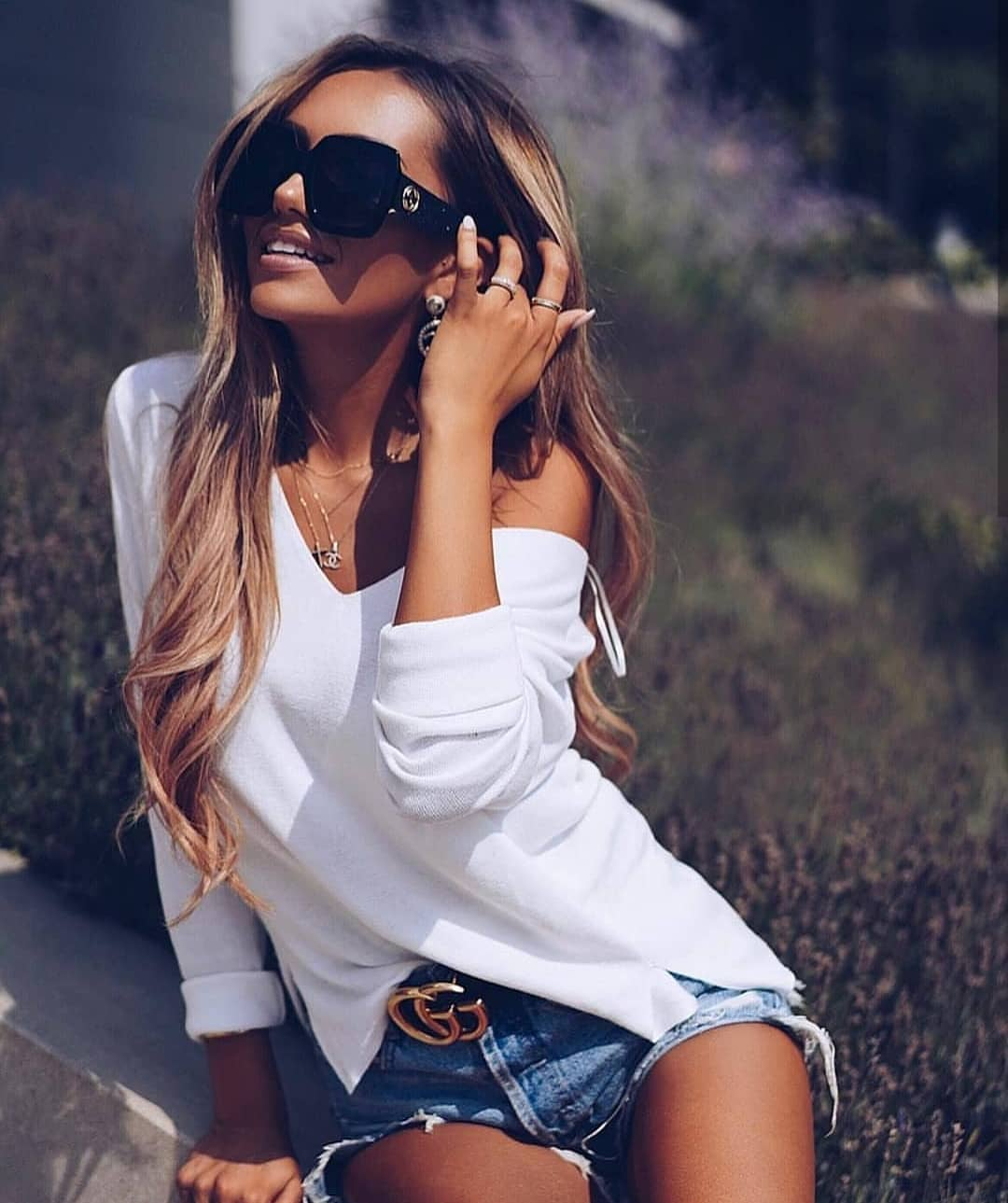 Off-Shoulder Slouchy Top In White And Wash Blue Denim Shorts For Summer 2019