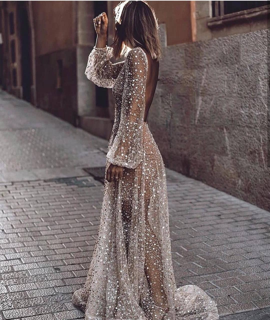 Sheer Sequined Maxi Gown With Open Back For Summer Cocktail Parties 2019