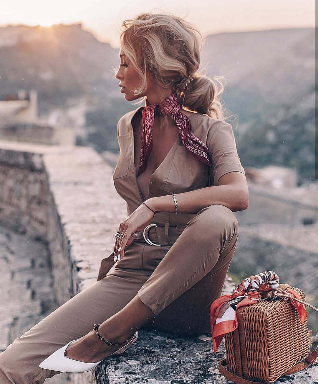 Khaki Beige Slim Jumpsuit In Safari Style For Summer Traveling 2020