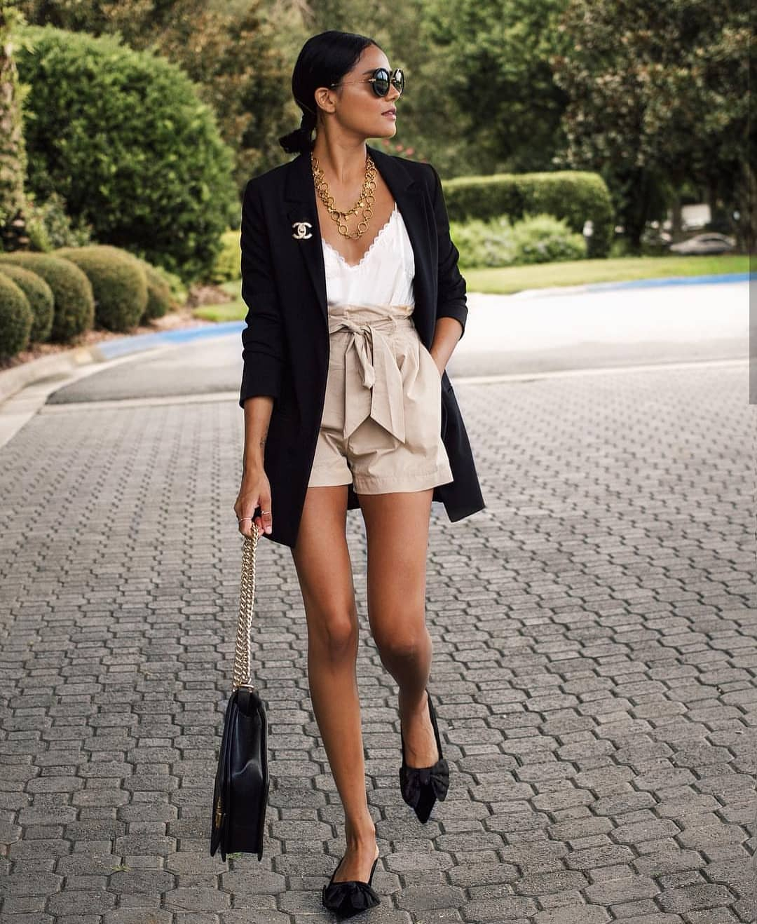 Can I Wear Long Blazer In Black With Safari Gathered Shorts And White Slip Top 2020
