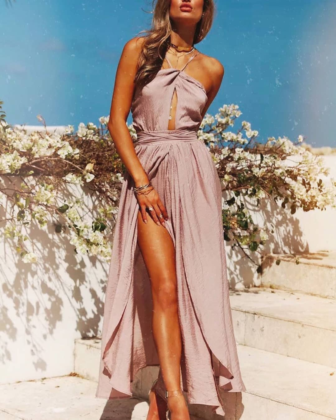 Light Pink Maxi Dress In Grecian Style With Spaghetti Halter Neck For Summer 2019