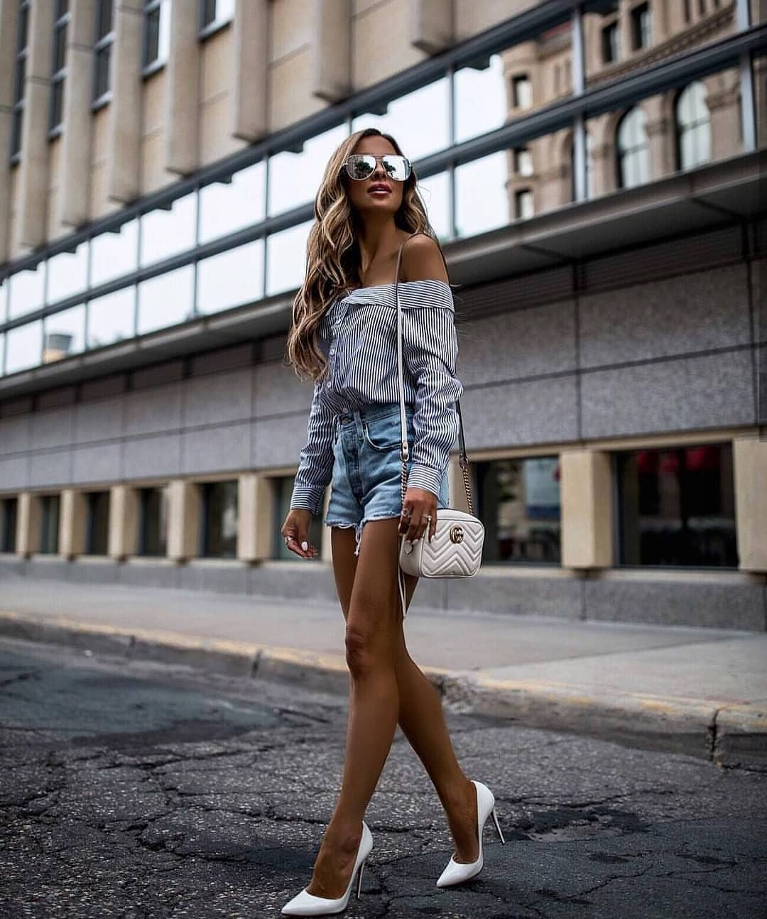 Off Shoulder Pinstripe Shirt And Wash Blue Denim Shorts With White Pumps 2019