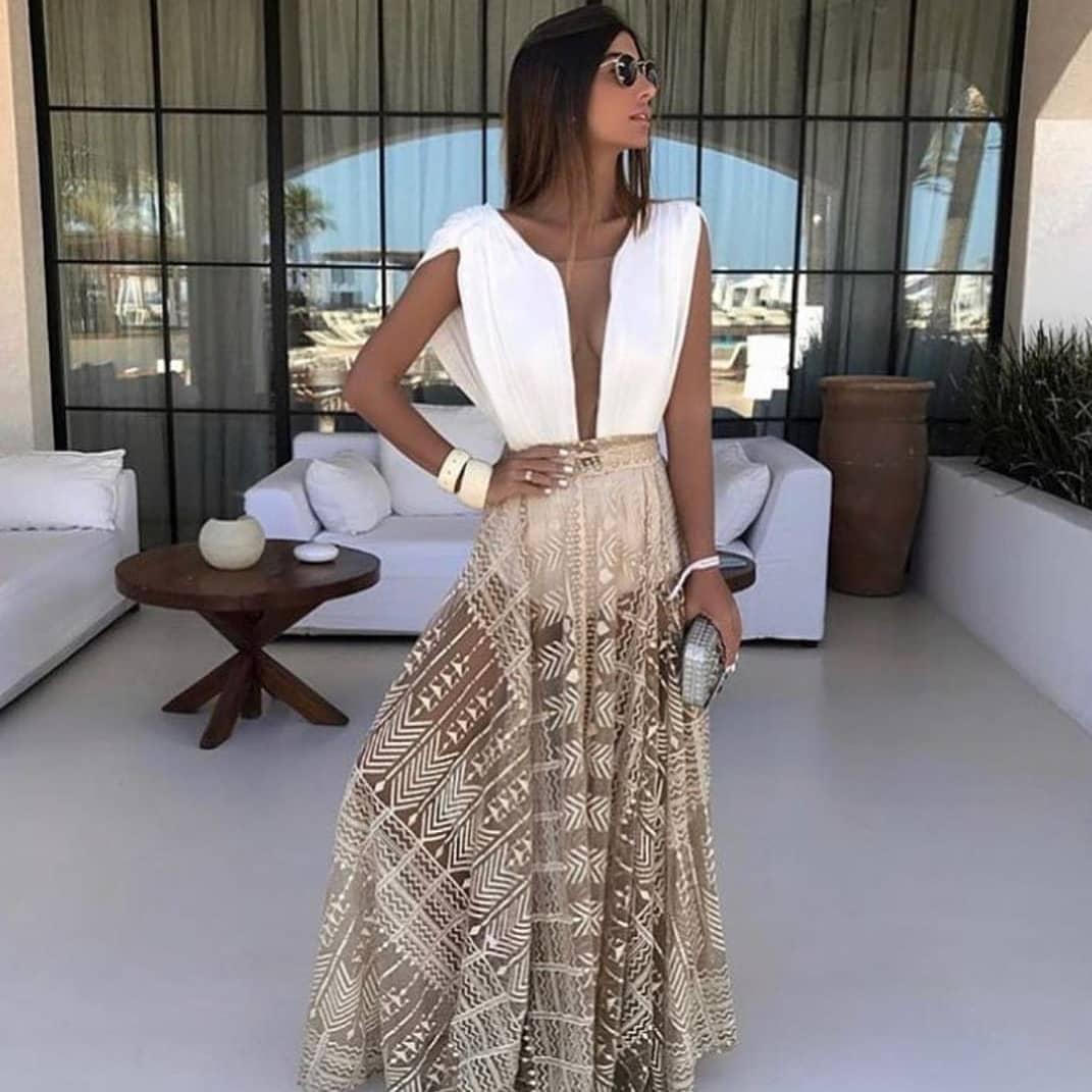 White Bodysuit And Sheer Maxi Skirt For Summer 2019