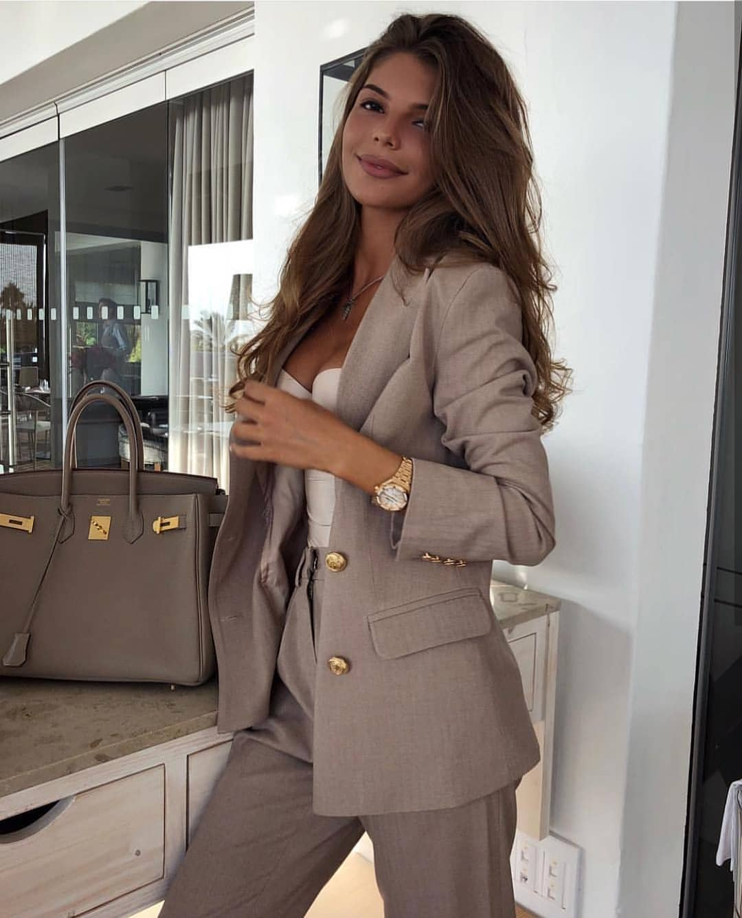 Grey Beige Pantsuit For Office Hours In Summertime 2020