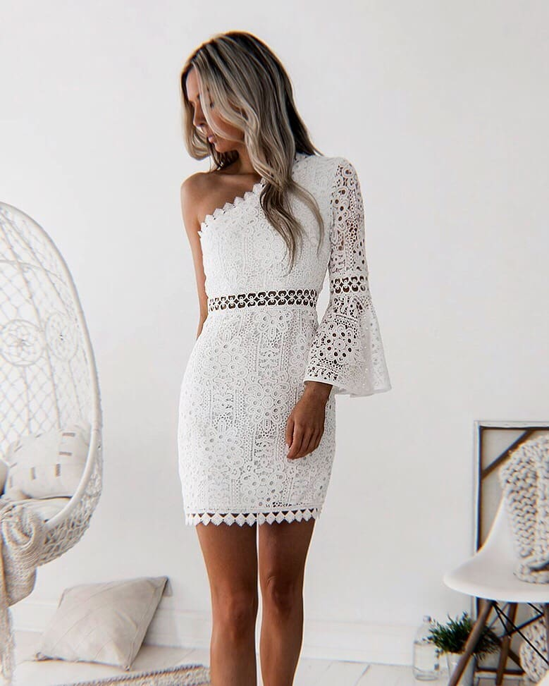 One Shoulder Mini Dress In White For Summer 2020