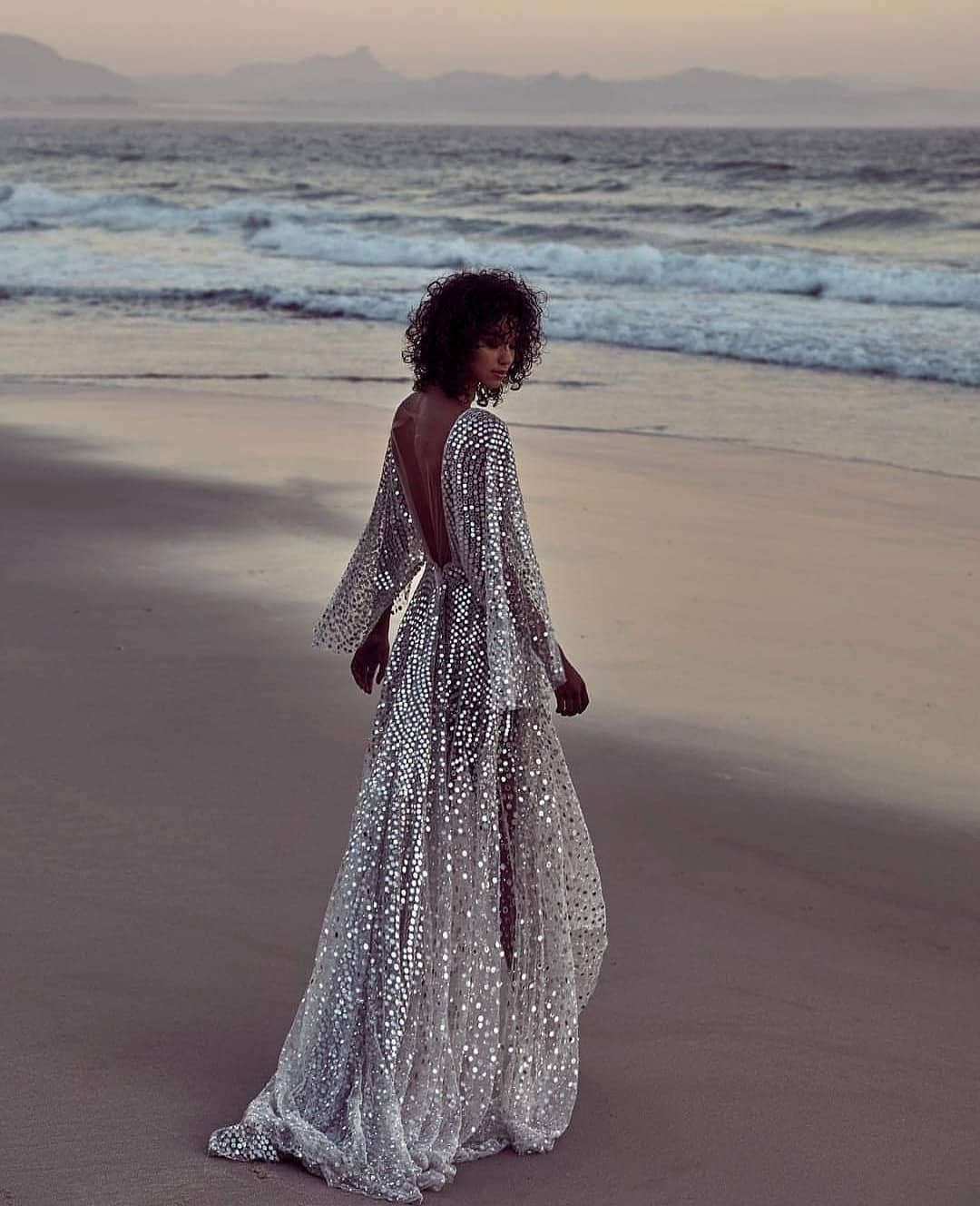Shiny Silver Metallic Maxi Gown With Open Back For Summer 2020