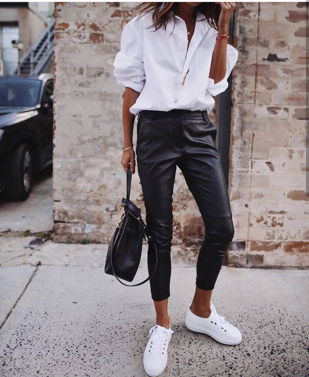White Shirt With Black Leather Pants And White Kicks For Summer 2019