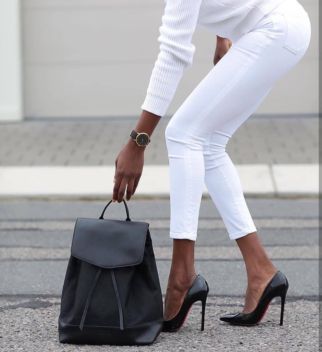 All White Look With Black Accessories: Monochrome Essentials For Spring 2020