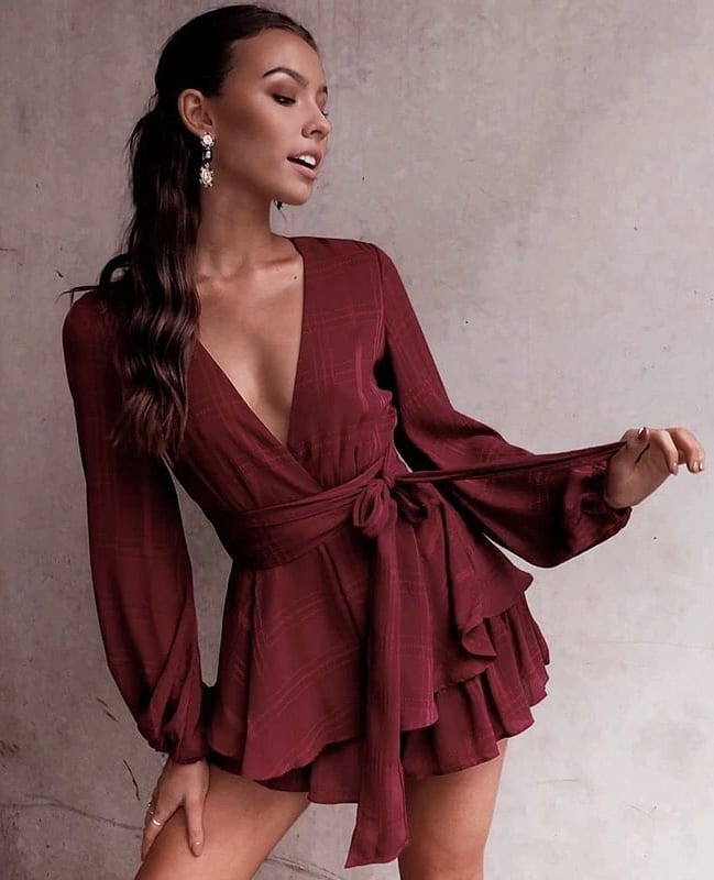 Can I Wear Maroon Wrap Romper With Long Sleeves This Summer 2019