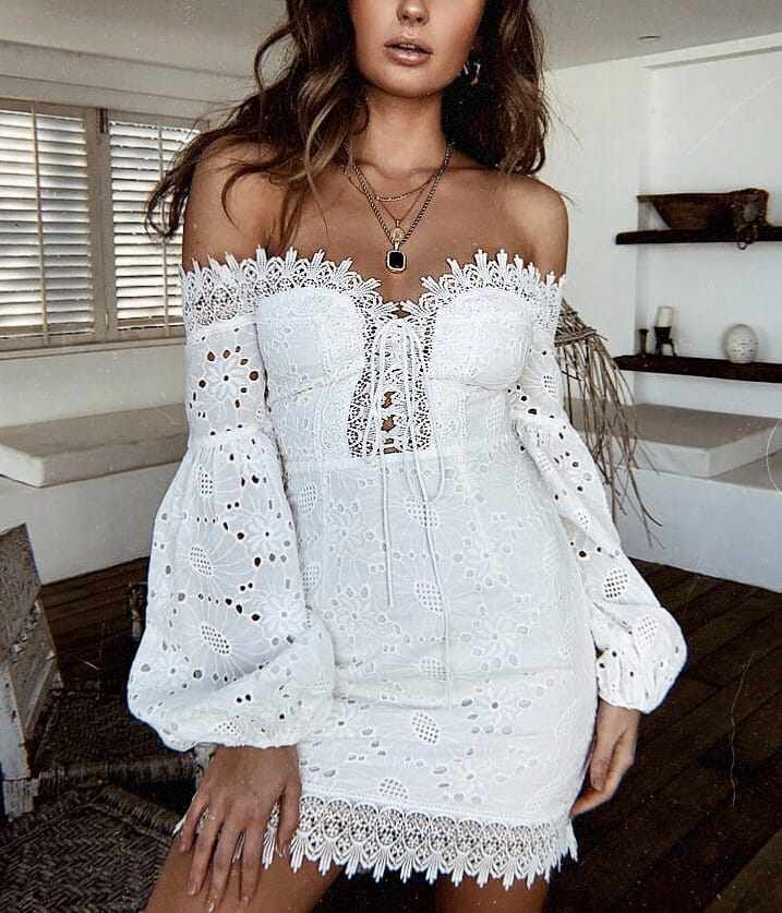 Off Shoulder Crochet Dress In White With Balloon Sleeves For Summer 2020