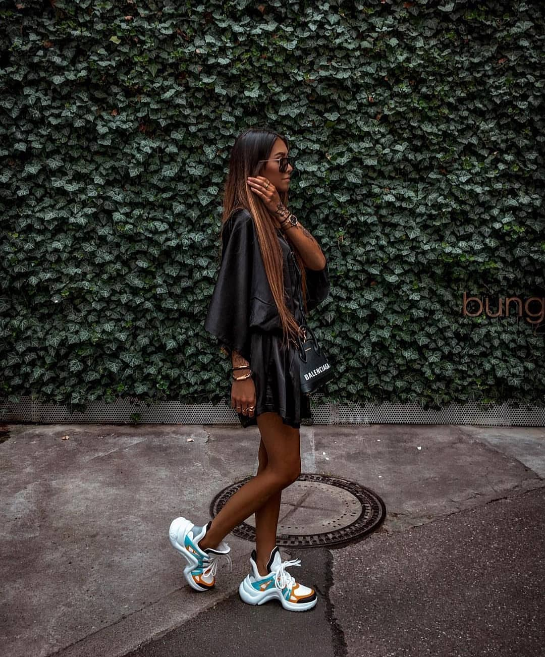 Shiny Black Mini Kimono Dress And Chunky Sneakers For Summer 2019