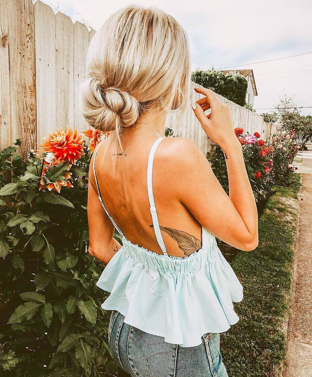 Peplum Light Blue Top With Open Back And Wash Blue Jeans For Summer 2019