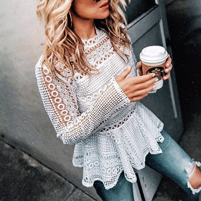 White Crochet Top With Peplum And Knee Ripped Jeans For Summer 2019