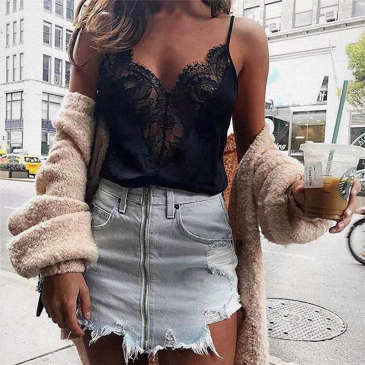 Black Lace Spaghetti Strap Top And Frayed Denim Skirt For Summer 2019