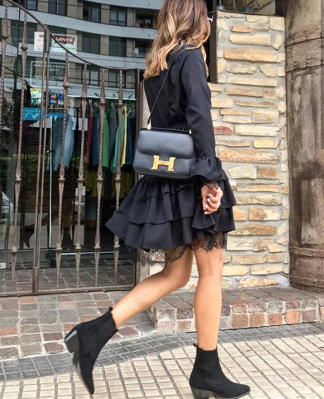 Ruffled Long Sleeve Dress With Sock Ankle Boots: All In Black Look 2019