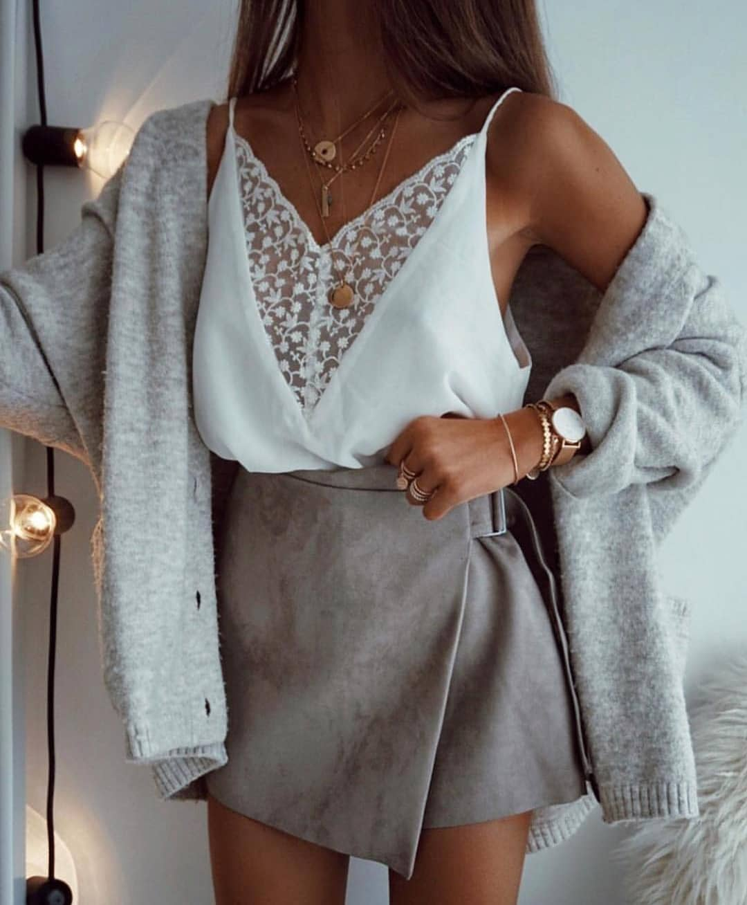 Cream Grey Oversized Cardigan And Wrap Grey Mini Skirt For Summer 2019