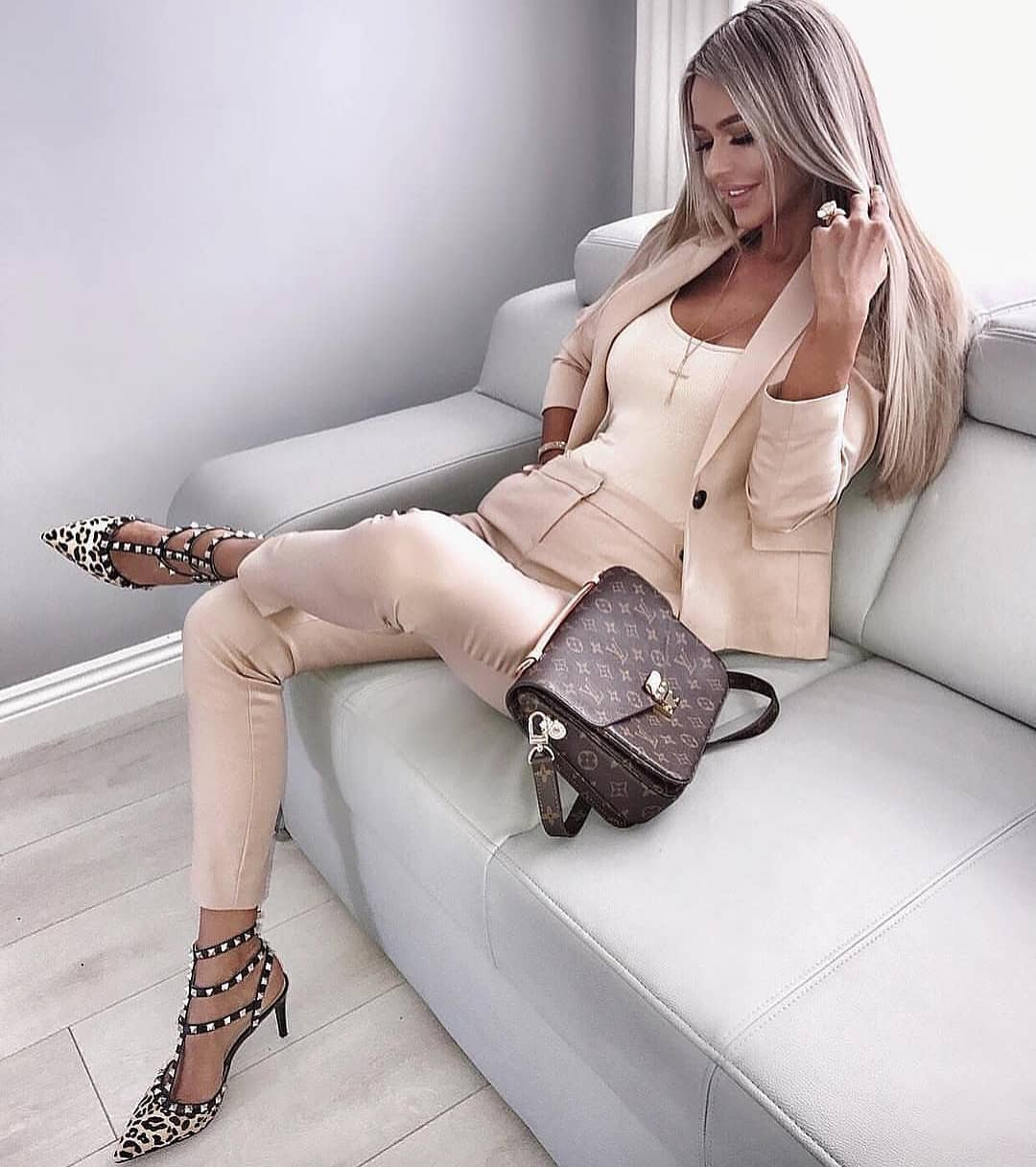 Blush Pantsuit With Studded Caged Pumps For Summer 2020