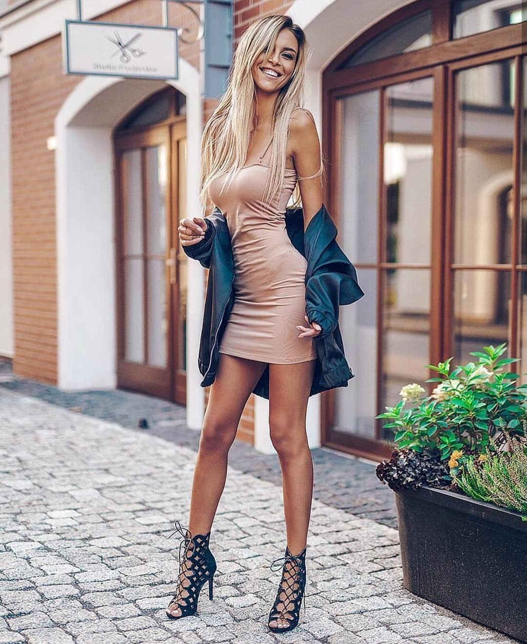 Cream Nude Midi Slip Dress And Caged Black Sandals For Summer 2019