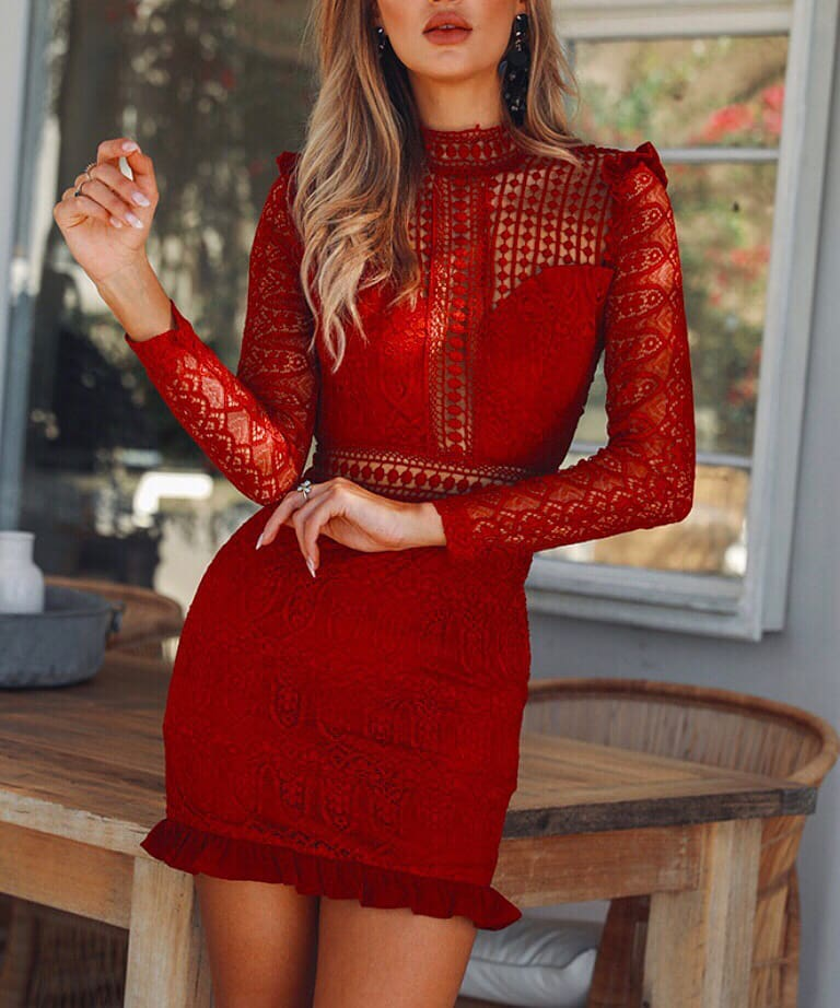 Red Lace Dress With Long Sleeves For Summer 2019