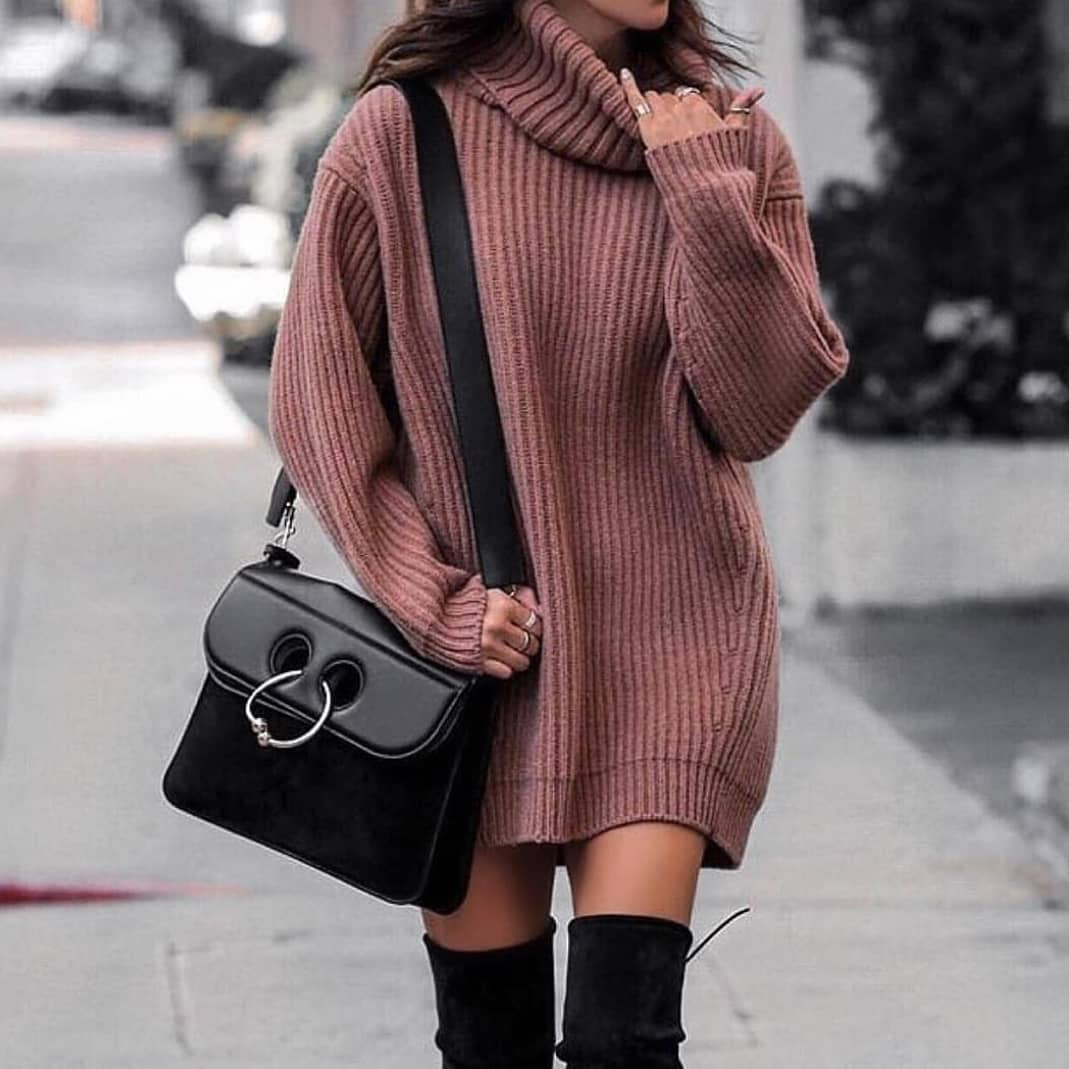 Turtleneck Dress In Oversized Fit And Black OTK Boots For Fall 2019