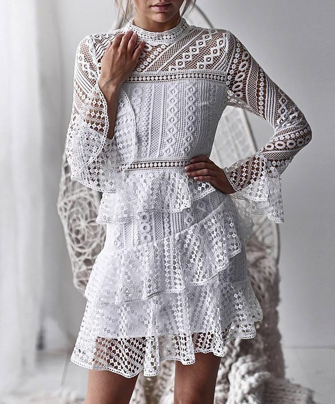 Crochet White Dress With Long Sleeves For Summer 2019
