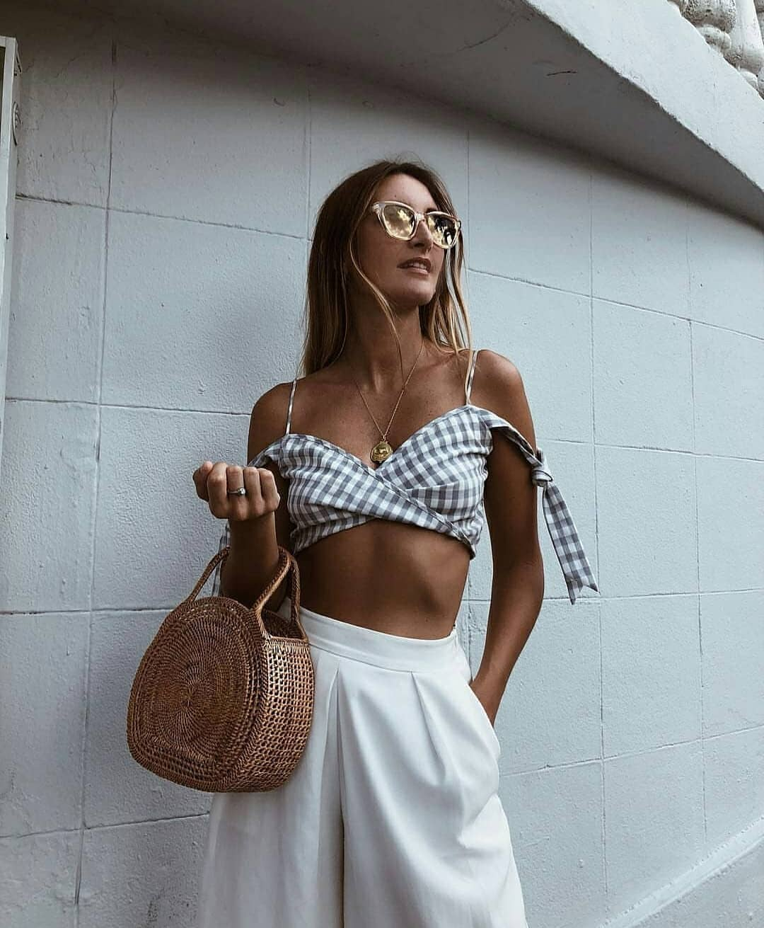 Crop Top In Gingham Print With Spaghetti Straps And White Culottes For Summer 2020
