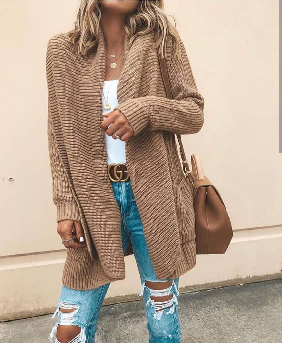 Cream Beige Cardigan In Oversized Fit And Ripped Wash Blue Jeans For Spring 2019