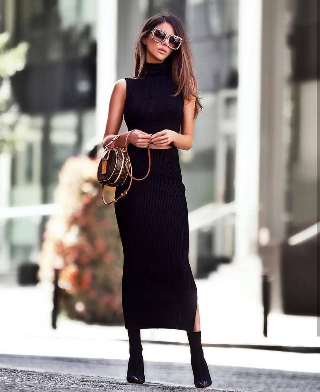Two Piece Knitted Dress In Black For Fall 2019