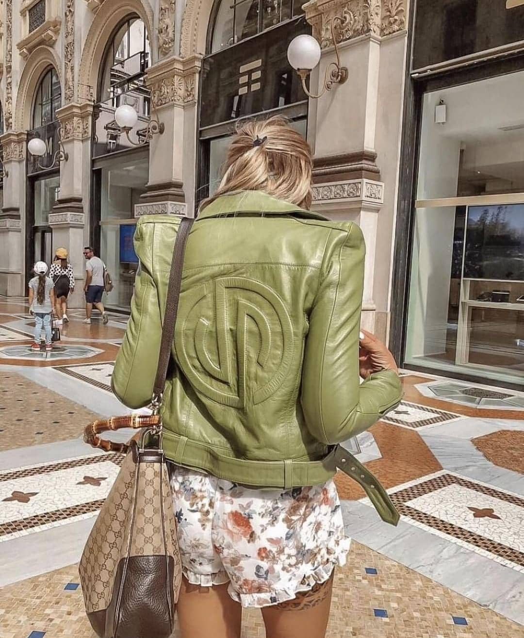 Light Green Leather Jacket And White Floral Shorts For Summer 2019