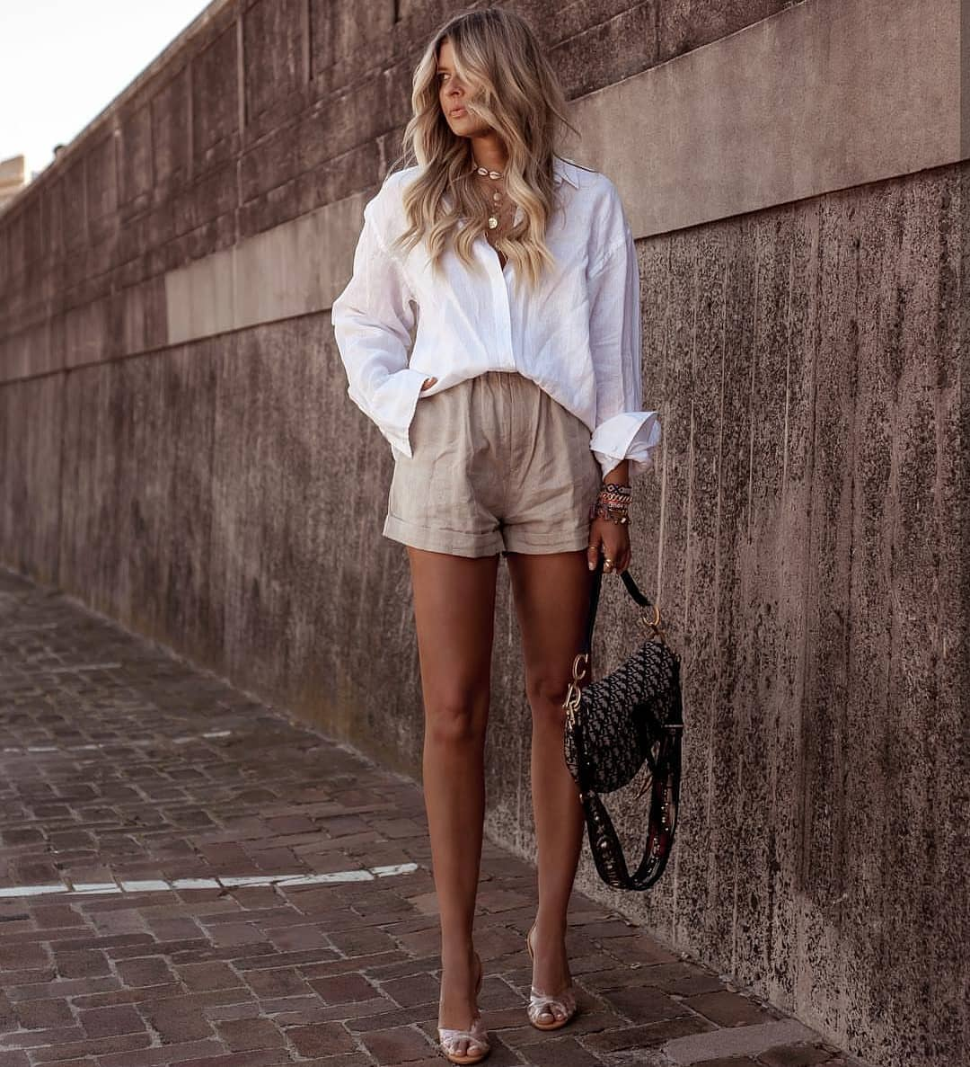 Oversized Shirt In White And Beige Shorts For Summer 2019