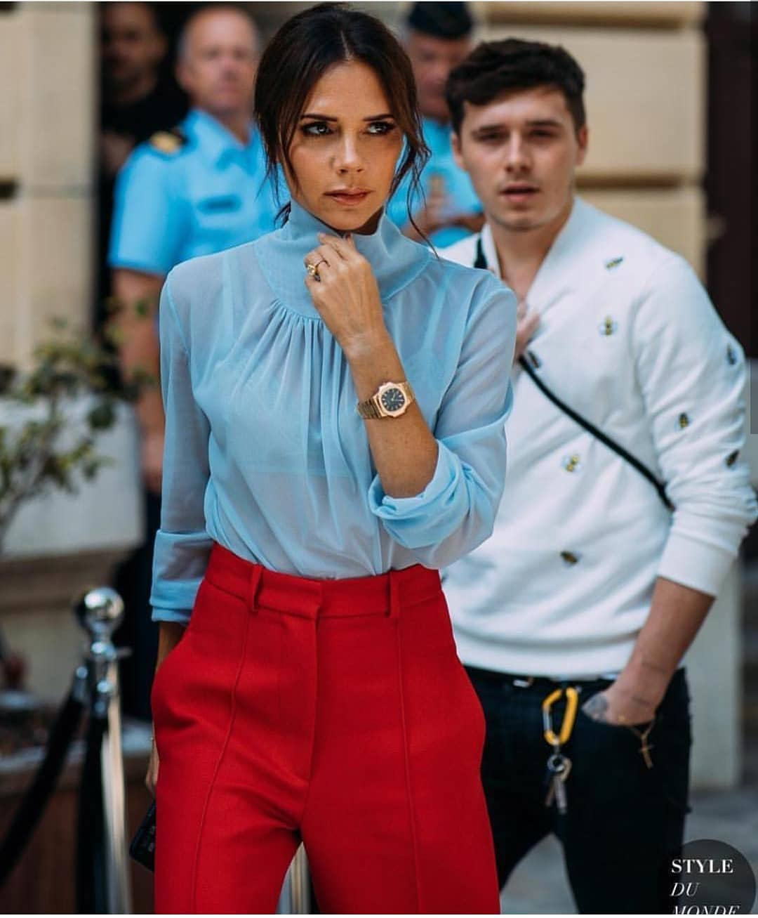 Light Blue High Neck Blouse And Red High Rise Pants For Summer 2019