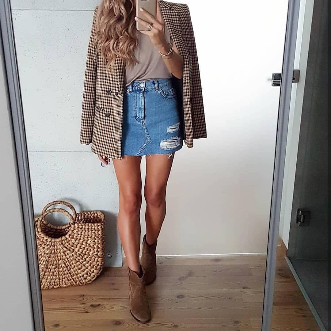 Plaid Blazer And Ripped Denim Skirt For Spring 2019