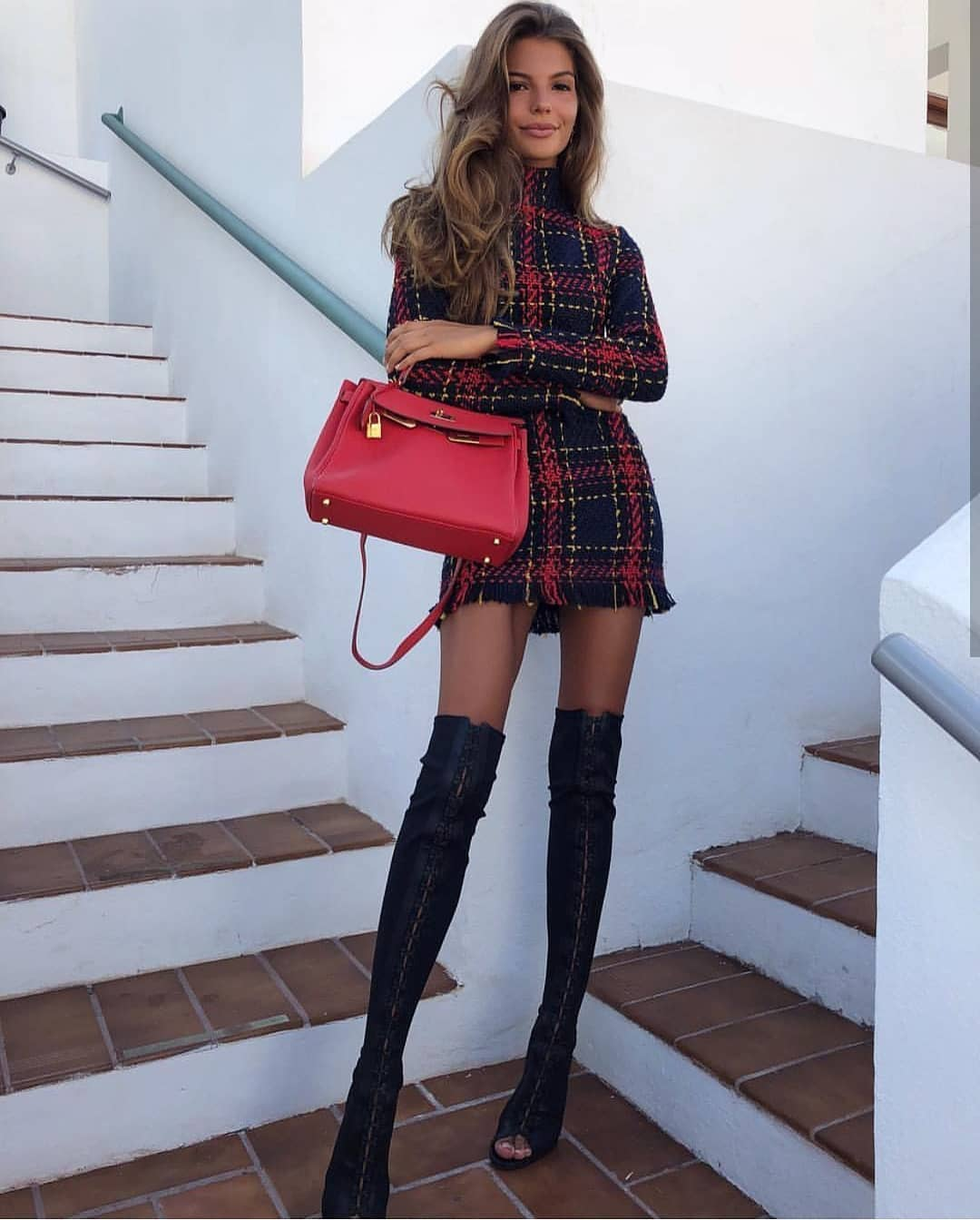 Tartan Dress With Long Sleeves And OTK Boots For Spring 2019