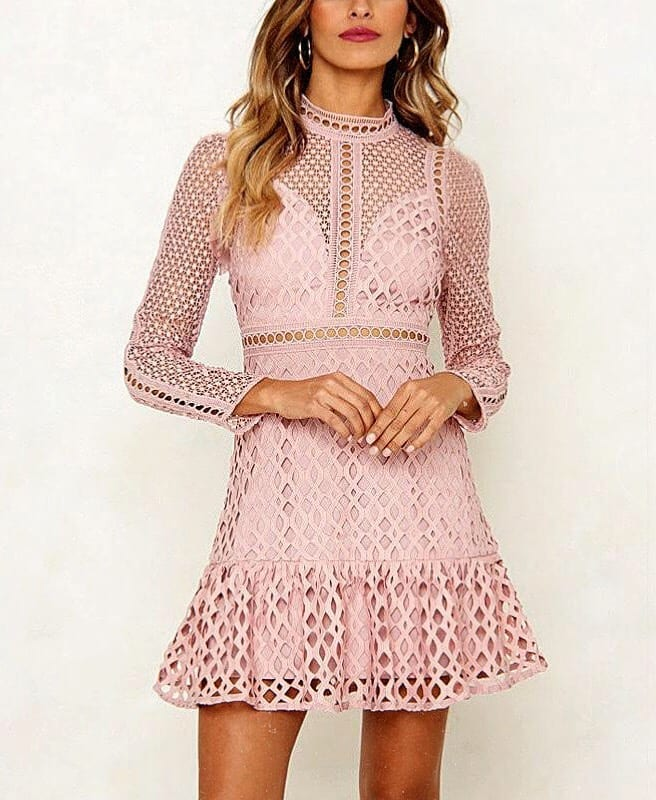 Blush Crochet Short Dress With Long Sleeves For Summer 2019
