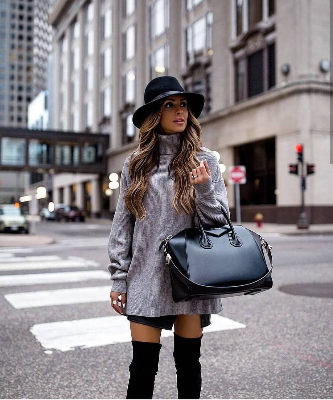 Grey Turtleneck Sweater Dress With Black Suede OTK Boots And Black Fedora 2019