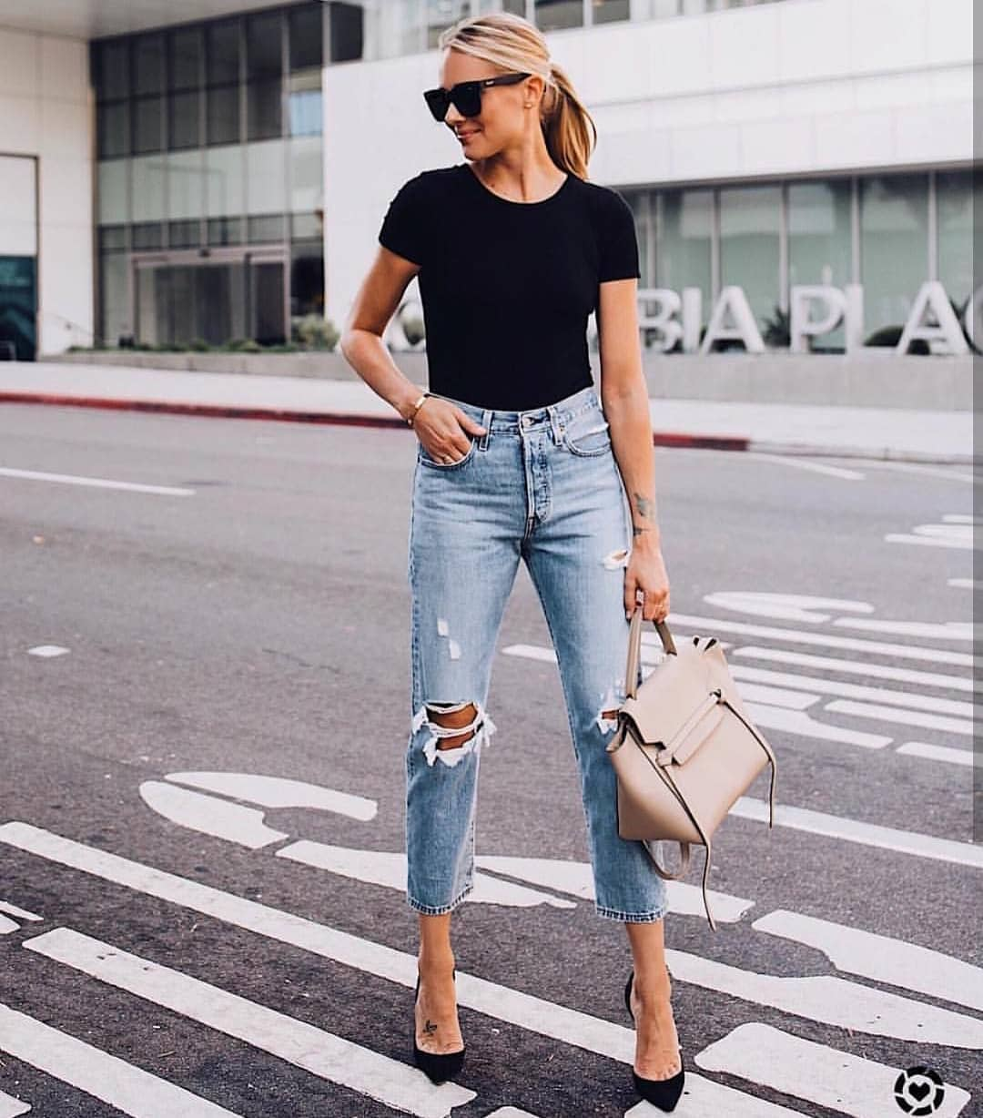 Black Tee And Ripped Wash Blue Jeans With Black Heels: Summer Basic Combo 2021