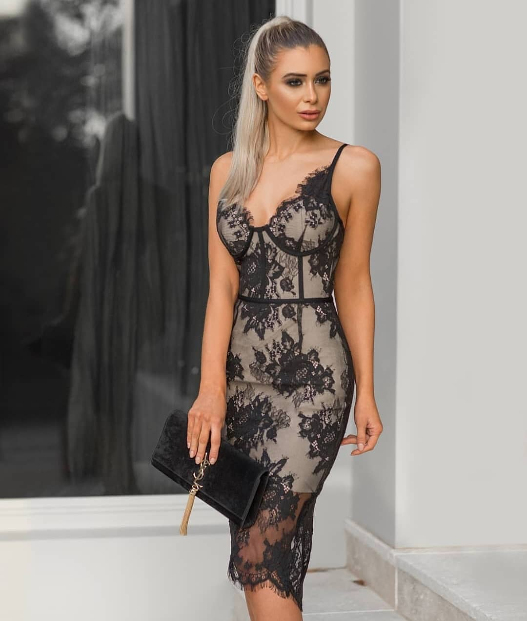 Slim Sheer Black Lace Dress With Spaghetti Straps For Summer 2020