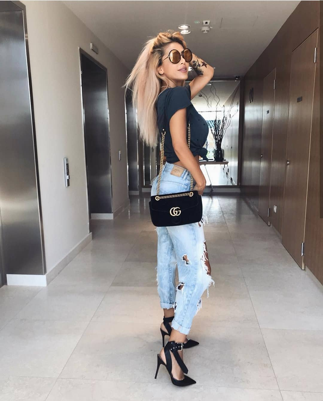 Ripped Black T-Shirt With Ripped Boyfriend Jeans For Summer 2019