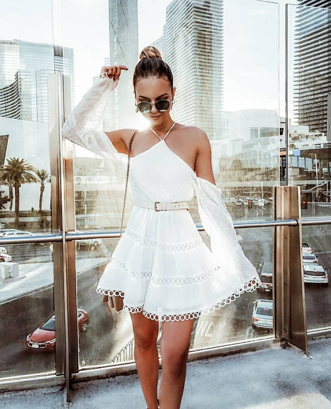 White Boho Dress With Long Sleeves With Open Neck For Summer 2019
