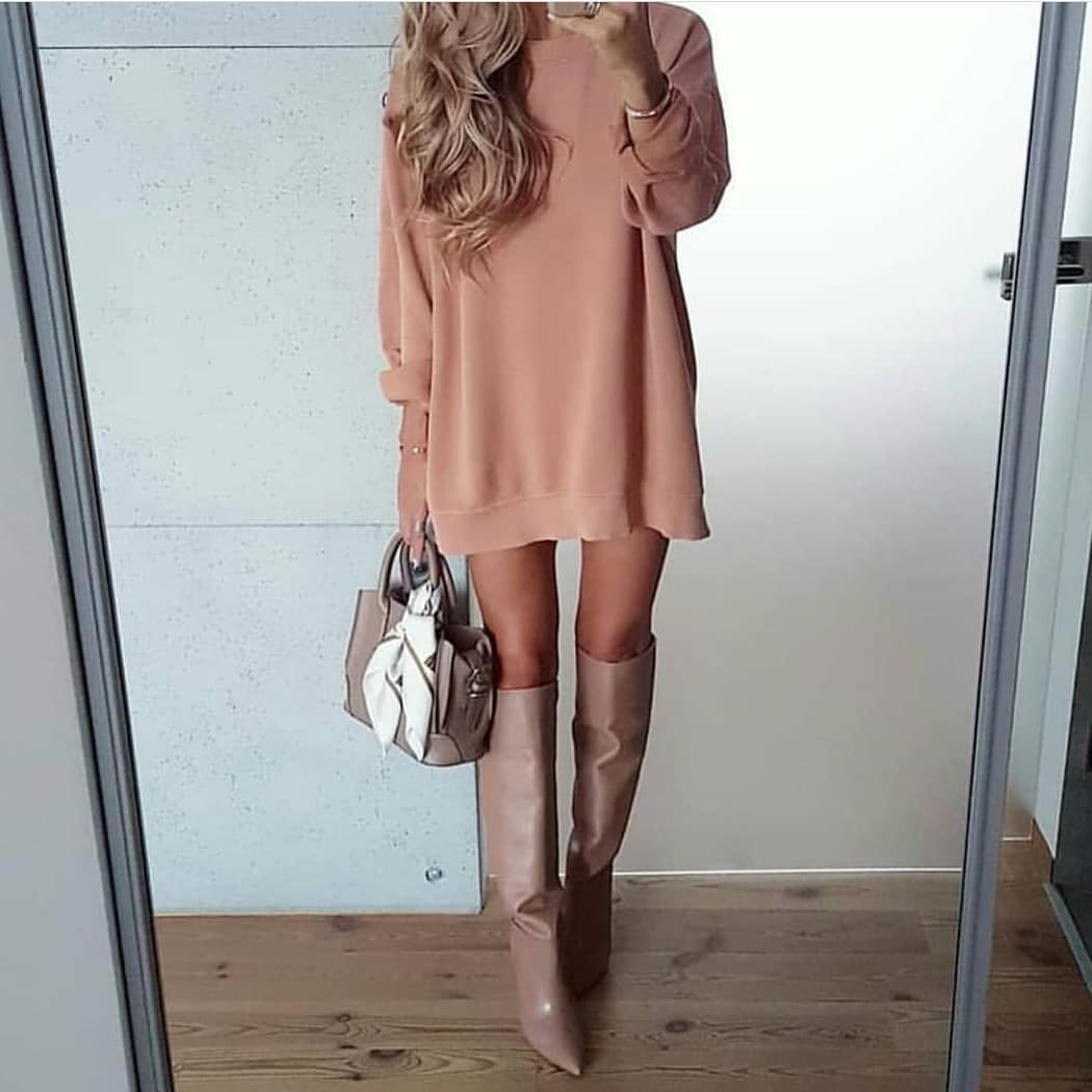How To Style Blush Sweater Dress With Slouchy Blush Boots For Young Ladies 2020
