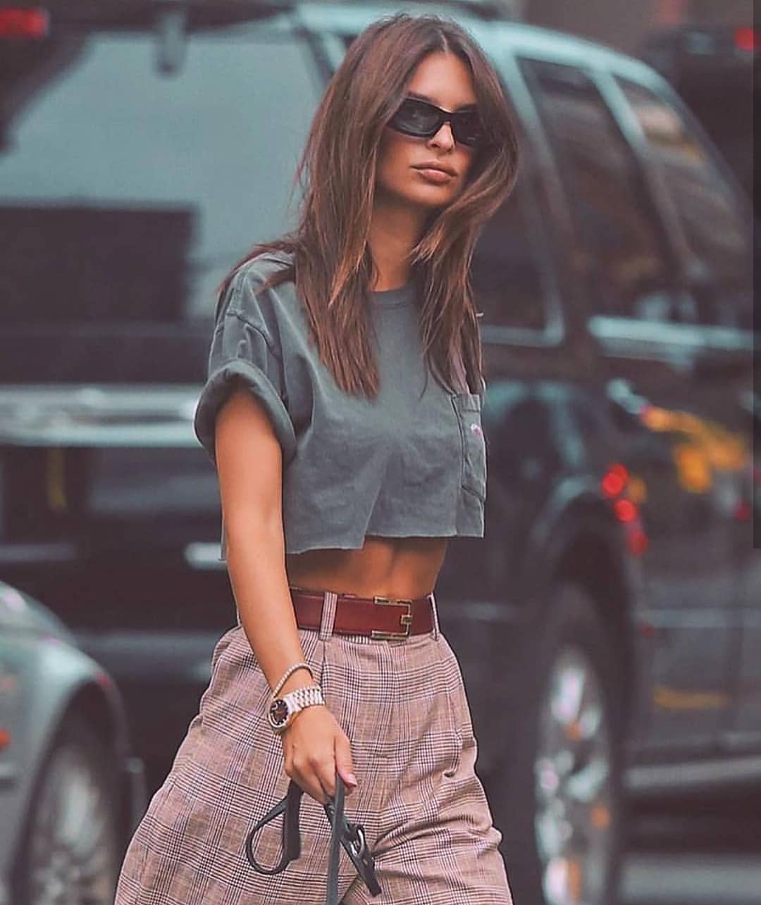 Khaki Green Crop Top And Plaid Wide Pants For Summer Casual Street Walks 2020