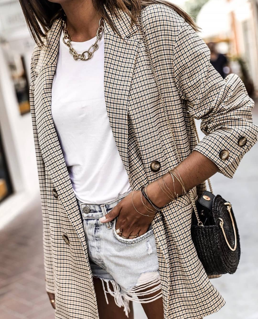 Plaid Print Long Blazer And Frayed Wash Blue Denim Shorts For Summer 2019