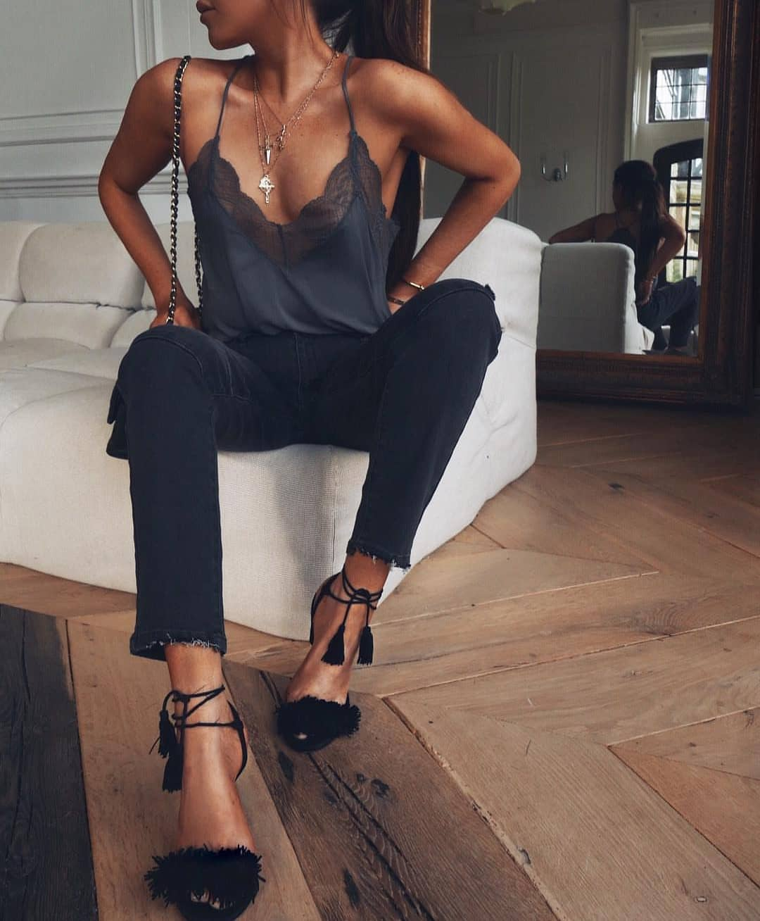 Slip Tank Top And Black Sim Jeans With Tasseled Black Sandals For Summer 2019