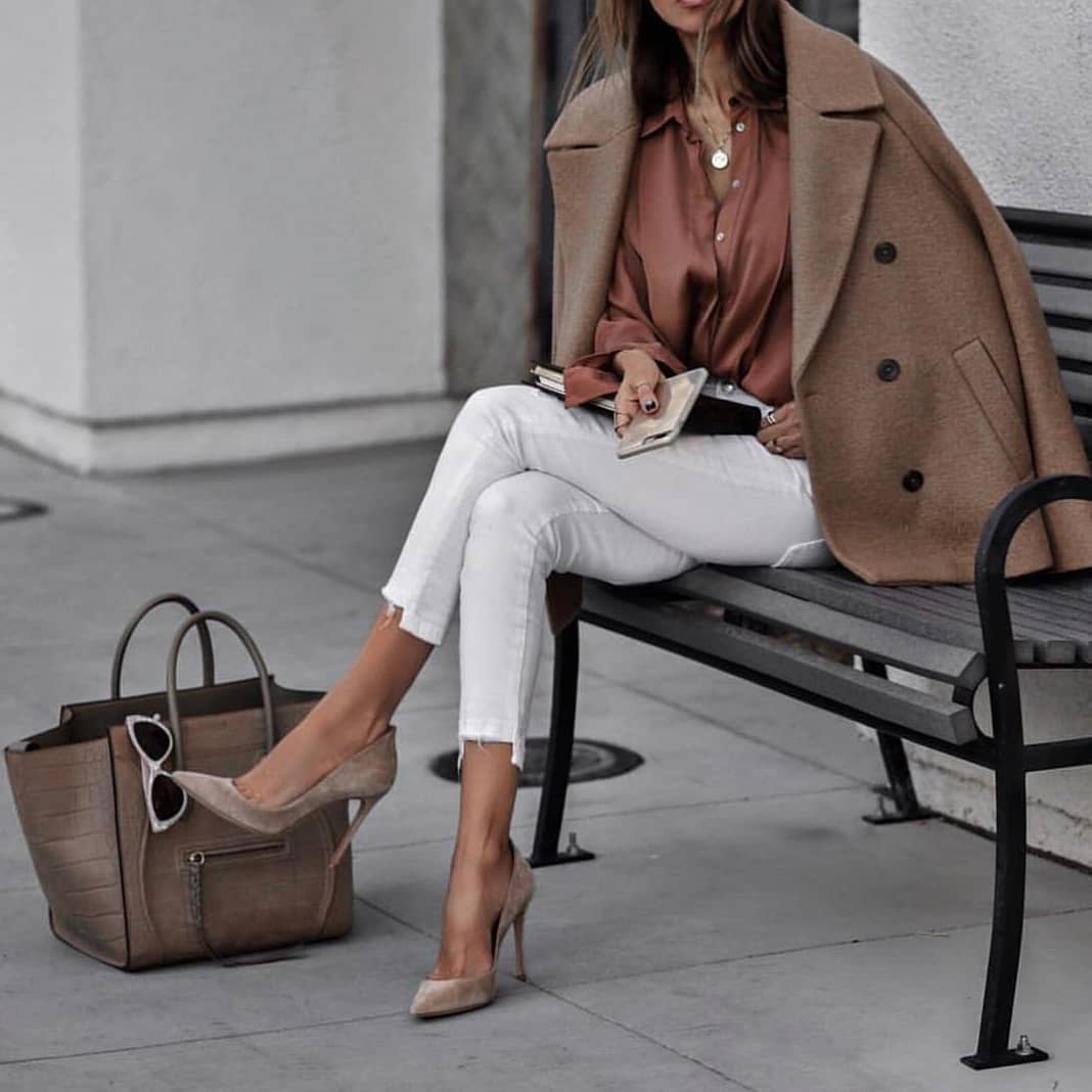 Silk Blouse With White Jeans And Beige Wool Coat For Fall 2019