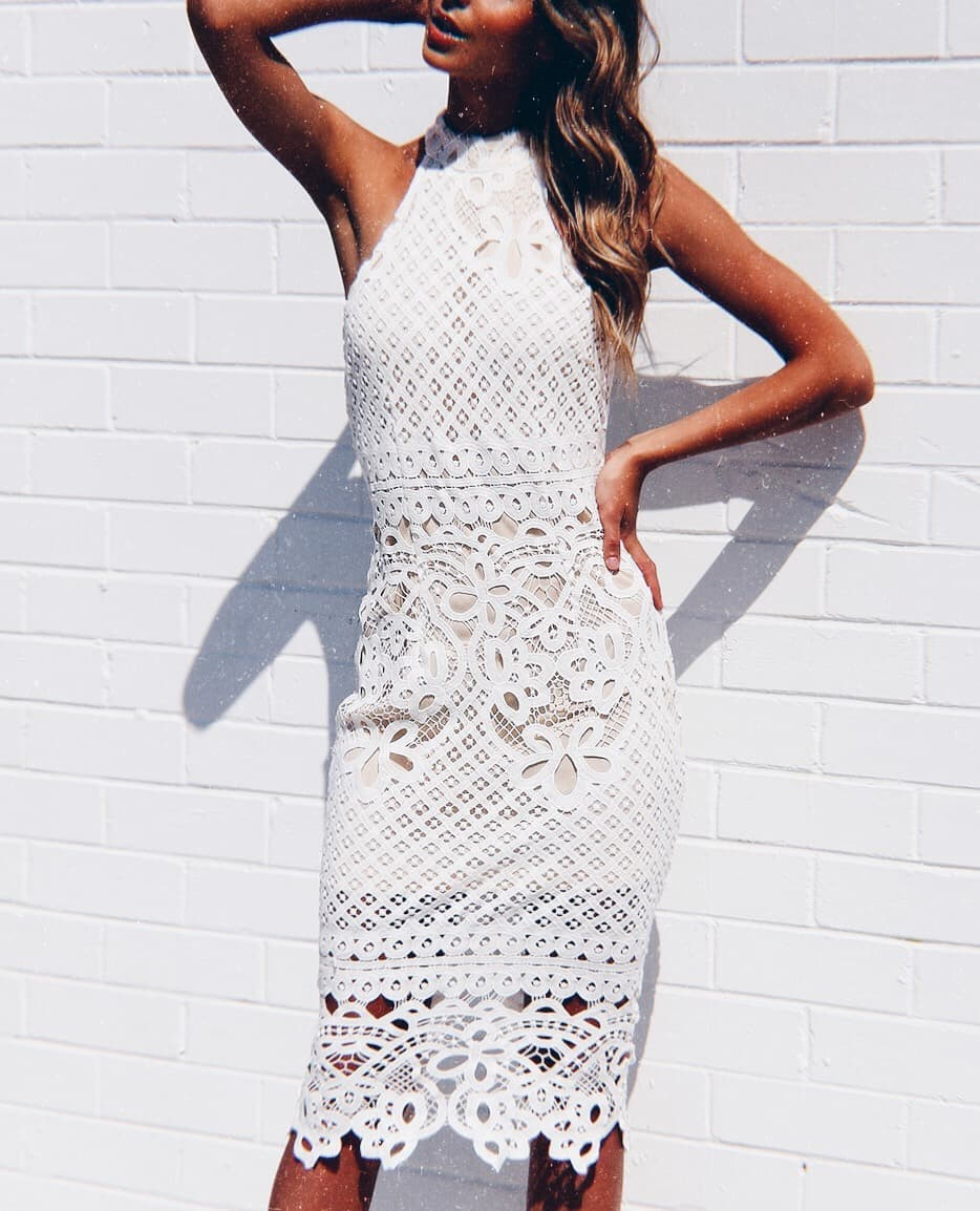 Halter Neck White Crochet Dress For Summer Vacation 2021