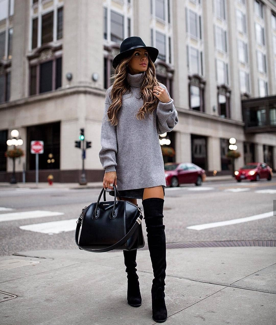 Grey Sweater Dress And Suede OTK Boots In Black For Fall 2019