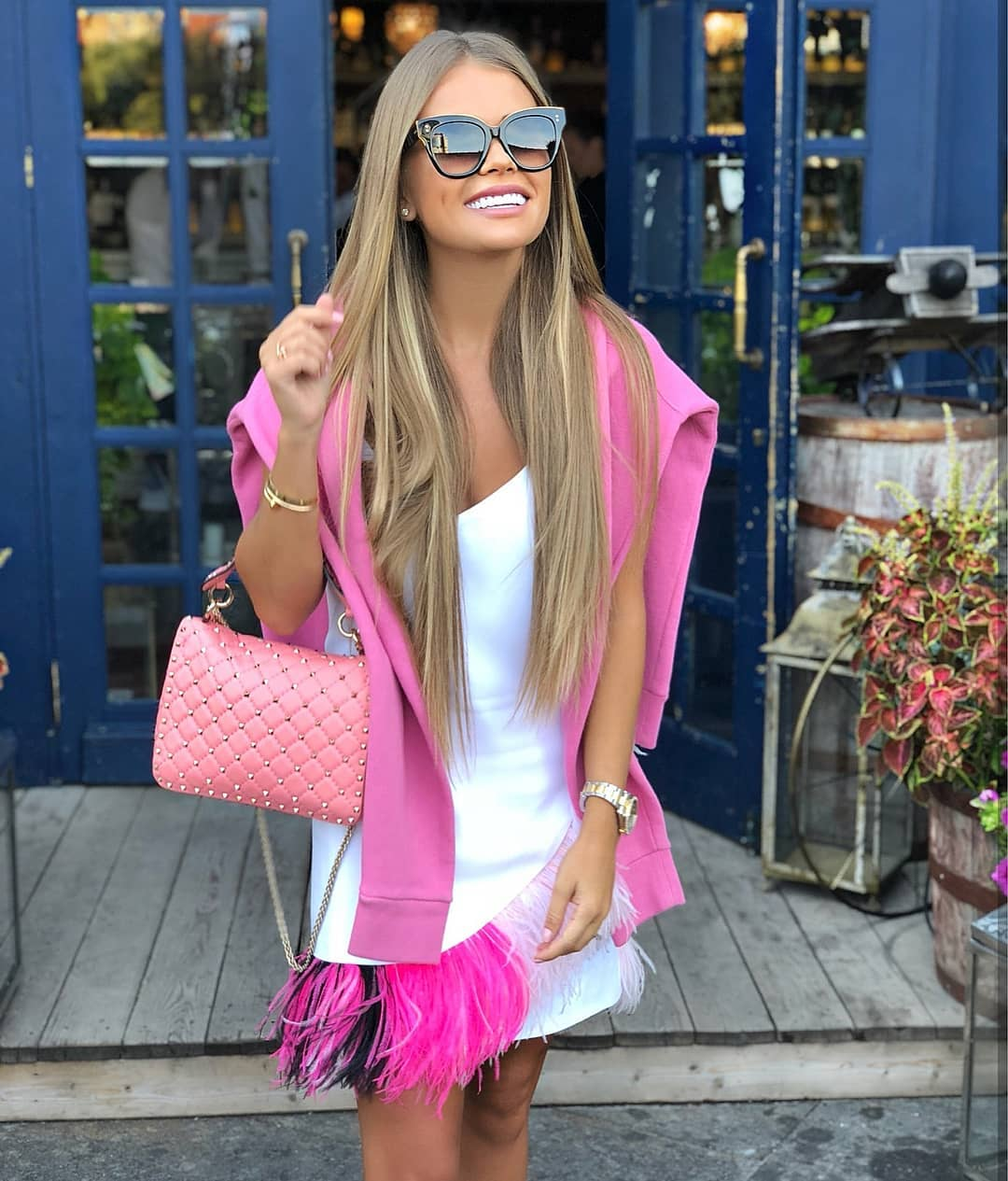 White Dress And Pink Sweater Combination For Spring 2021